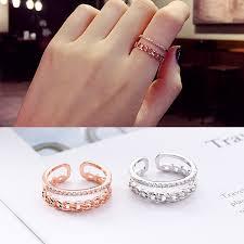 【In Stock】<b>Korean</b> Open Twist Ring Exaggerated <b>Micro</b>-<b>Inlaid Zircon</b> ...