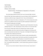 core core cuny college of staten island page  comparison essay the declaration of independence vs the articles of confed