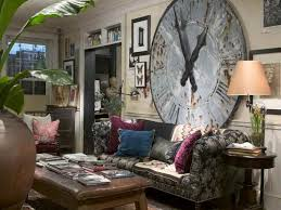 wide wall clock for bohemian interior design sitting space with grey sofa and brown table bohemian living room furniture