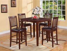 5pc pub set square counter height table w 4 leather chairs stool in gany ebay