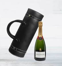 bollinger chagne in wine carrier