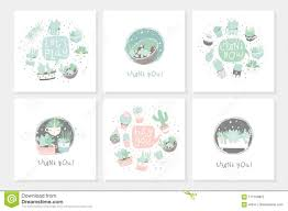Set Of 6 Cute Ready To Use Gift Romantic Postcards With Succulents