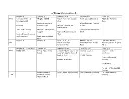 Macromolecules Chart Ap Biology Ap Biology Weekly Calendar