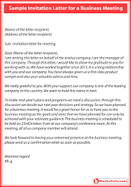 Formal Business Invitation Formal Invitation Letter For A Business Meeting Sample