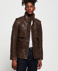 superdry rookie leather jacket thumbnail 1