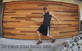 cedar tongue groove veneer garage door diy installation time lapse you