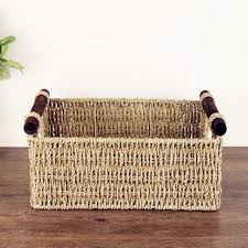 Hand-made straw American style wood handle rectangle receive sundry storage  basket snacks commonly used