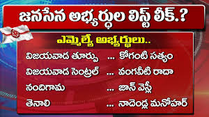 Mla Joblist Janasena Party Mla And Mp Candidates First List For 2019 Elections Pawan Kalyan Yoyo Tv Channel
