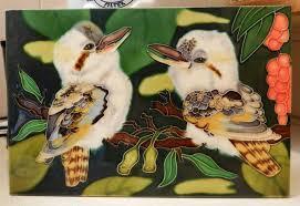 kookaburra hand painted ceramic tile