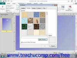 Microsoft Publisher Free Publisher 2010 Tutorial Customizing Page Backgrounds Microsoft