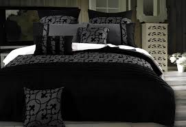 lyde charcoal black quilt cover set in super king queen king double size