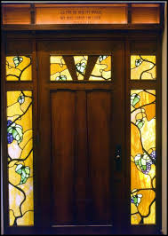 center california craftsman style entry system in beech with california mountains leaded glass right california craftsman 3lite over 3 panel