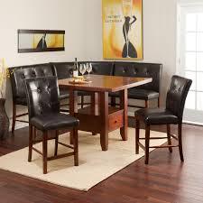 table nooks sets corner breakfast nook kitchen set linon chelsea bench walnut dining view