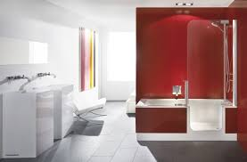 bathroom contemporary apartment red bathroom design with white gloss vanity to her scenic colorful ideas