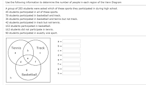 A Venn Diagram Tracks Which Of The Following Solved Use The Following Information To Determine The Num