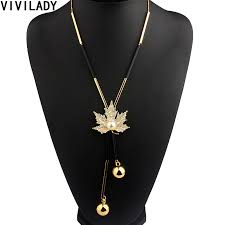 vivilady lovely maple leaf long beaded chain tassel pendant necklace women office lady imitation pearl jewelry bijoux gifts