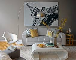 Yellow Accessories For Living Room Yellow And Grey Living Room Eiffel Tower Paris Wall Decoration