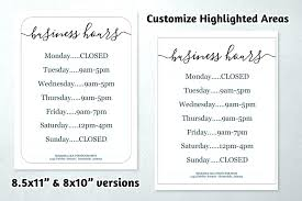 Opening Hours Sign Template Christmas Free Office Word