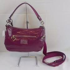Coach Poppy Daisy Liquid Gloss Patent Pocket Tote Bag F20047 Berry Pink