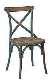 osp designs somerset x back antique metal chair with hardwood rustic seat finish turquoise