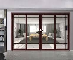 aluminum glass sliding door with grill design