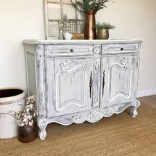 country distressed furniture. Antique Sideboard Buffet, French Country Furniture, White Buffet Cabinet, Louis XV, Shabby Distressed Furniture N