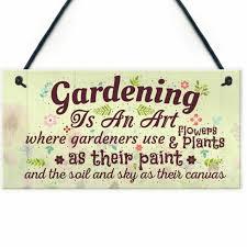 gardening art novelty hanging plaques