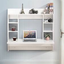floating office desk. floating wall mounted office computer desk home table wstorage white m