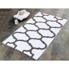 50 in x 30 in bath rug cotton in gray and white