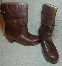 Women's UGG Australia Lynnea Brown Leather Sheepskin Wood Heel Clog Boot  Size 8   eBay