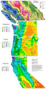 California Annual Rainfall Chart Skiing The Cascade Volcanoes Snowfall And Snowdepth