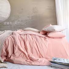light pink bedding set 100 cotton s solid color duvet cover soft bed sheets home bedding pillow case queen king bed linens