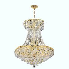 worldwide lighting empire collection 11 light polished polished gold and clear crystal chandelier