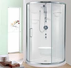 round shower shown with nice door