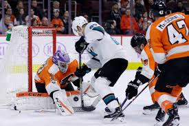 flyers game november dell gets job done in place of jones as sharks top flyers