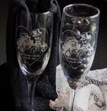 skeleton bride groom toasting wedding champagne glass flutes pair