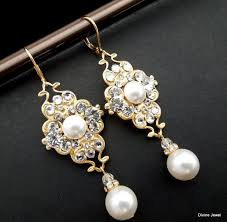 bridal earrings pearl earrings wedding pearl earrings swarovski crystal earrings chandeliers earrings