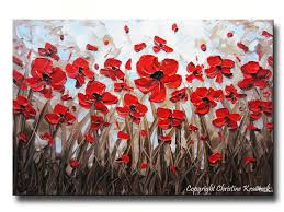 original abstract modern flower paintings canvas prints contemporary wall decor white flowers red poppies hydrangea yellow and grey abstract fls