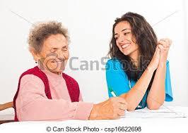 Nurse Helping Elderly Register For Nursing Home Homecare Nurse