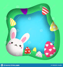 Cut Out Character Template Easter Bunny Looking Out Colorful Easter Banner With Cute