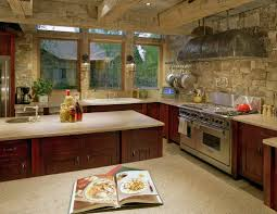 stone kitchen countertops. Amazing Kitchen Ideas With Rustic Backsplash And Beams Stone Countertops E
