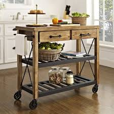 crosley furniture brown rustic kitchen cart