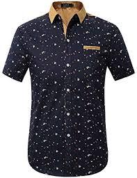 Pattern Shirts Cool SSLR Men's Printing Pattern Button Down Casual Short Sleeve Shirts