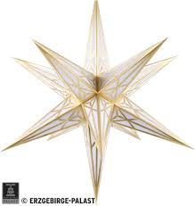 Hartenstein Christmas Star For Inside Use White With Gold 68 Cm 27 Inch