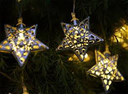 set of 12 solar moroccan string lights stars