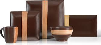 brown dinnerware sets. Plain Brown Mikasa Bamboo Brown 32 Piece Dinnerware Set Platter In Sets