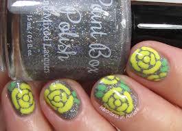 40 Great Nail Art Ideas, Yellow + Silver: Rose Nail Art ...