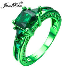 junxin male female geometric ring green gold filled jewelry vine wedding rings for men and women