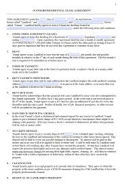 Residential Lease Contract Free Standard Residential Lease Agreement Templates Pdf Word