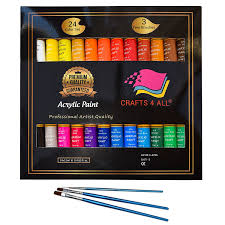 acrylic paint 24 set by crafts 4 all for paper canvas wood ceramic fabric crafts non toxic vibrant colors rich pigments with lasting quality for